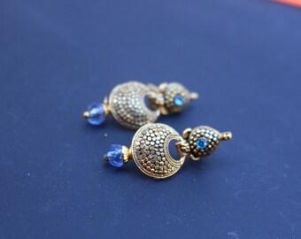 Indian Jewelry. Indian Earrings. Bollywood Earrings. Bollywood Jewelry. Chandelier Earrings. Red Purple Blue Oxidize Earrings. Brass Earring