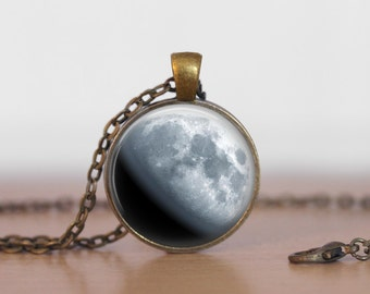 Waxing Gibbos Moon Pendant Jewelry moon Necklace Moon phase jewelry