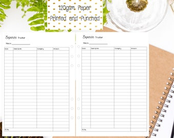 A5 Expense Tracker Inserts for A5 Filofax | Large Kikki K | Carpe Diem and Equivalent Planners