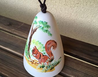 Ceramic bell, Squirrel Bell, Ceramic Wind Chime, Squirrel Wind Chime, Dobe Arizona Bell, Squirell Lover Gift