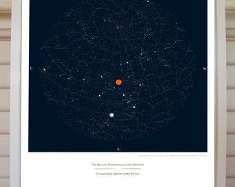 Custom Star Chart, Sky, Moon Print Poster 16x20  Wedding, Engagement, Anniversary, Birthday, Newborn, Virgo, Libra
