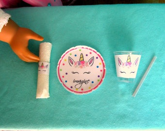 """American Food 18"""" Girl Doll, Unicorn Accessories: Plate, Cup, Napkin, Straw, Unicorn Food Accessories for 18 inch Dolls, 1 mini place Set"""