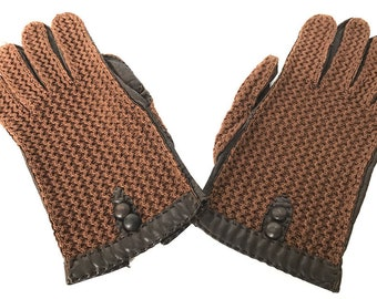 Brown Genuine Leather Driving gloves