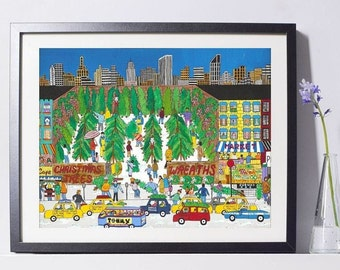 New York Art - Christmas NYC Art - Home Decor - New York Gift - NYC Art Print - Pat Singer's New York