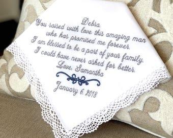 Mother of The Groom Handkerchief - Hankerchief  - Wedding Hankies - Hanky - AMAZING MAN- Gift for Mother of the Groom from the Bride