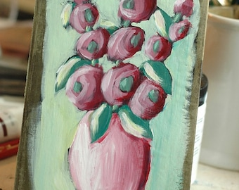 Carefree - Antique Book Cover Painting - Original, Painterly, Impressionist, Acrylic Painting - Hollyhocks in Vase