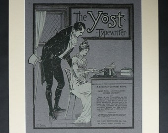 1901 Antique Yost Typewriter Advert, Available Framed, Office Art, Clerical Decor, Victorian Gift for Writer, Old Edwardian Study Wall Art