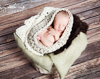 SET Oatmeal Bowl, Cream Blanket, Chocolate Fur and Sage Burlap Layer Newborn Photography