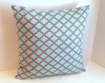 "18"" x 18"" Gray, Aqua & White Envelope Style Pillow Cover ( Waverly Fabric 100% Cotton )"