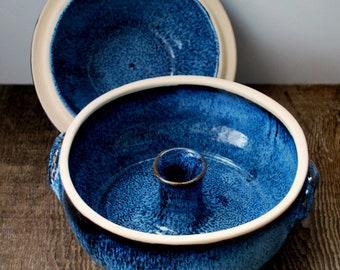 Ceramic Cobalt Blue Vegetable or Rice Steamer/Wheel Thrown Stoneware Pottery