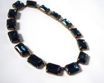 Navy Blue Statement Necklace, Anna Wintour Necklace. Montana Sapphire Collet Necklace, Georgian Paste. Regency, 18th Century, 19th Century,