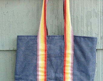 Rainbow and Denim Tote Bag, vintage handmade, 60s 70s 80s style, bookbag or laptop bag