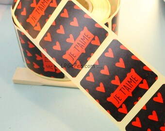 """20 labels gift stickers - """"I love you"""" # EMB53"""