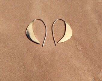 Medium brass crescent moon earrings