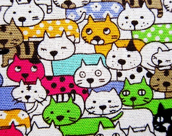 Cat Fabric - Animal Print Fabric - Cotton Linen Blend - Fat Quarter