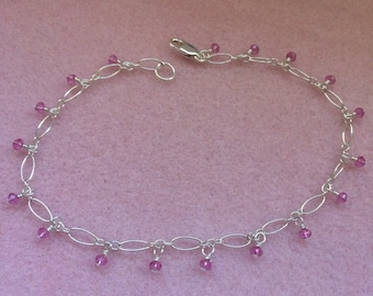 Pink Mystic Quartz and Sterling Silver Anklet