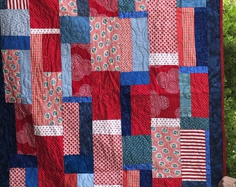 Handmade quilt red, white and blue