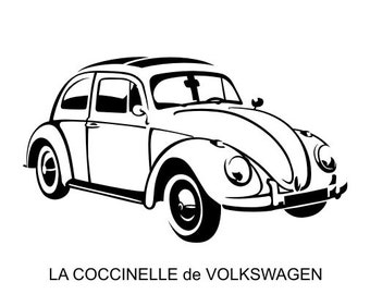 Sticker of the VW Beetle, vintage, old car home decor wall decal Sticker