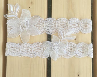 Bridal Garter Set in White Stretch  Lace Trim and Flower Applique