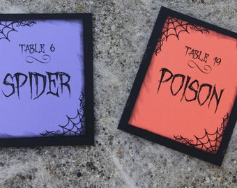 Handmade Table Numbers, Halloween Design, Wedding, Special Event, Reception, Single Sided