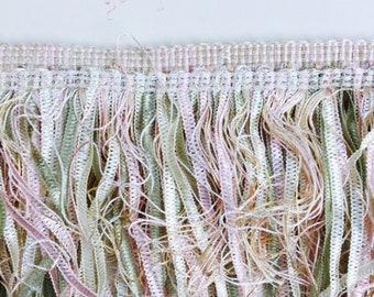 ribbon fringe trim. scrapbooking and sewing trim. pastel ribbon fringe. doll making and card making trim. vintage haberdashery
