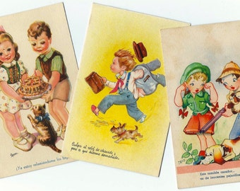 3 Vintage Children Postcard from SPAIN - Handwritten - Retro