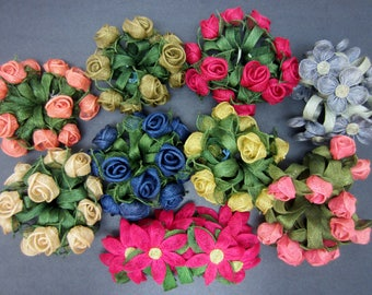 Lot of Handmade Vintage Burlap Flower Napkin Rings For Art Projects 9 Sets Hot Pink Blue Beige Green Craft Supplies Decoration Colorful 70s