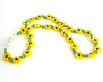 Beaded Sunflower Anklet: Seed Bead Floral Anklet Yellow Ankle Bracelet Beaded Jewelry