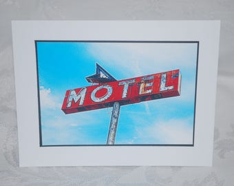 photo card, vintage Motel sign Route 66 photography