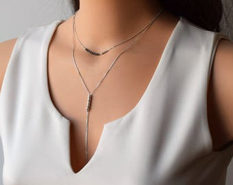 Layered Necklace,Layered Necklace Set, Double Silver necklace, Delicate Necklace, Hematite Necklace, Silver Layering Necklace,Dinty Necklace