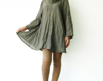NO.112 Olive Cotton Wide Stand Collar Long Sleeve Blouse