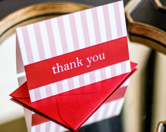 """Wedding Thank You Cards, Stripe Stationery, Preppy, Pink and Red - """"Preppy Chic"""" Folded Thank You Card with Envelope - DEPOSIT"""