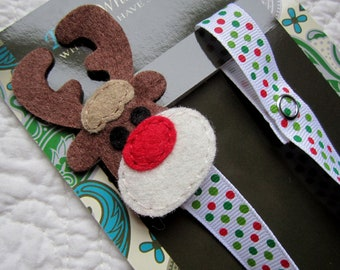 Reindeer Pacifier Clip, Christmas Pacifier Clip, Holiday Pacifier Clip