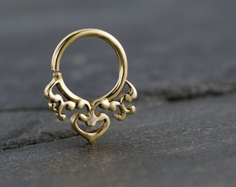 Tiny Gold Septum Ring For Pierced Nose. Indian, Tribal Design.