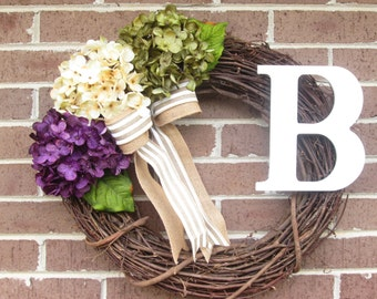 Hydrangea Wreath, Hydrangea Grapevine Wreath, Hydrangea Door Wreath, Summer Wreath, Spring Wreath, Initial Wreath, Mother's Day Wreath