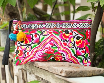 Village Of Peacocks Hmong Clutch Bag Hill Tribe Handmade Thailand Fair Trade - BG308WHIP