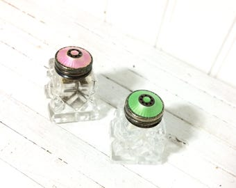 Vintage Guilloche Salt and Pepper Pink and Green