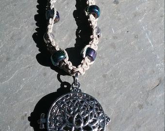 Lotus locket necklace