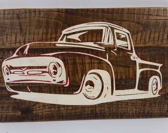 White Vintage Truck, Reclaimed wood sign, Man Cave, Husband gift
