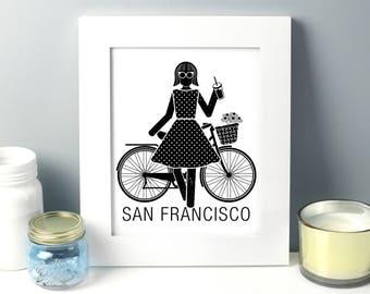 Girl dress, gift for her, fashion illustration, gift for women, gift for mom, San francisco, handmade, mothers day gift, gift for her,