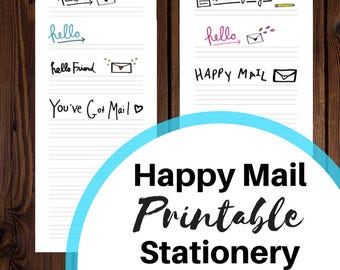 DIGITAL DOWNLOAD: Happy Mail Printable Stationery for Pen Pals, Letter Writers, Postal Freaks, and other Snail Mail Fans and Creative People