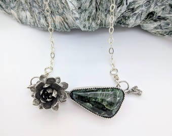 cast succulent twig seraphinite silver necklace