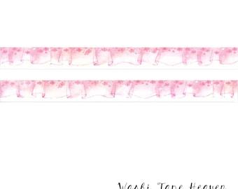 Pink Ruffle Border Washi Tape- 20mm - Watercolor Sakura Cherry Blossoms Sheer Curtain Valance