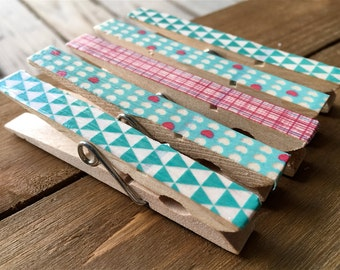 Teal and Pink Clothespin Magnets, Decorated Clothespin Magnets, Patterned Fridge Magnets, Teal and Pink Organizing Clips