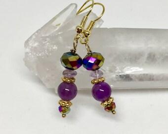 Amethyst earrings, amethyst jewelry, rich purple earrings, purple stone earrings, mermaid color earrings, purple faceted earrings, February