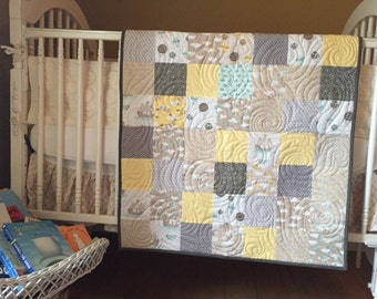 Moda Storybook Baby Quilt, featuring whimsical prints in gray, blues, and yellows- READY TO SHIP!
