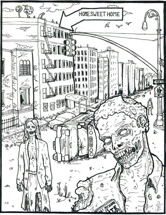 Malbuch: Zombie-Apokalypse In Ditmas Park
