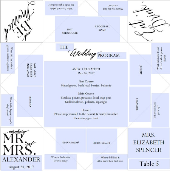 Place Setting Printable Wedding ProgramMenuFavor Cootie