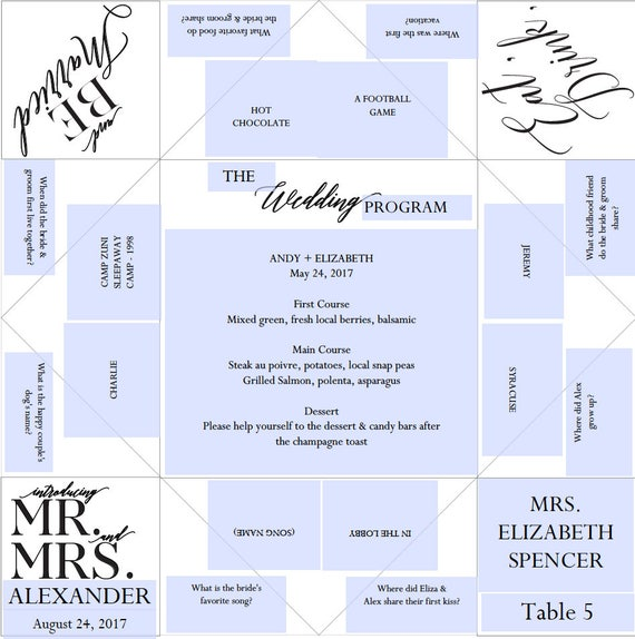Place Setting Printable Wedding Program/Menu/Favor Cootie