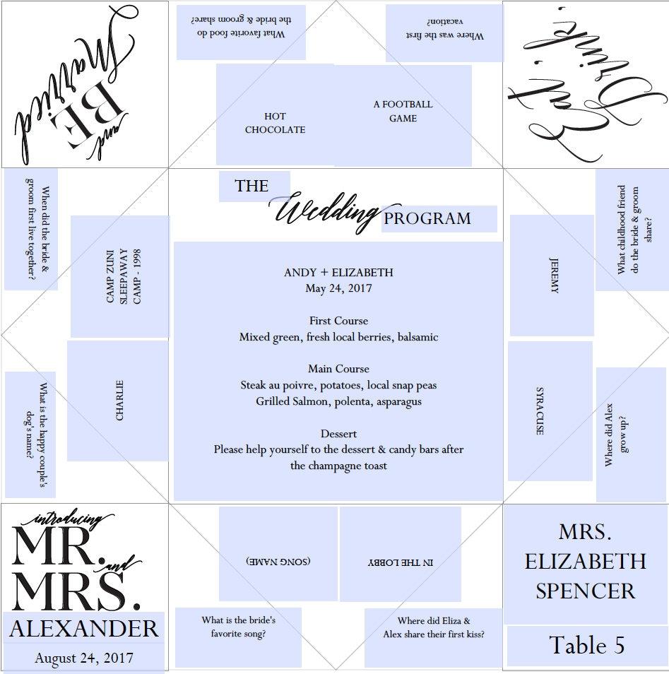 Place setting printable wedding programmenufavor cootie zoom jeuxipadfo Images